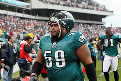 Philadelphia Eagles center Nick Cole #59 walks off the field at half time during the NFL game between the New York Giants and the Philadelphia Eagles on November 1st 2009. The Eagles won 40 to 17 at Lincoln Financial Field in Philadelphia, Pennsylvania. (Photo By Brian Garfinkel)