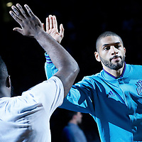01 November 2015: Charlotte Hornets forward Nicolas Batum (5) is seen during the players introduction prior to the Atlanta Hawks 94-92 victory over the Charlotte Hornets, at the Time Warner Cable Arena, in Charlotte, North Carolina, USA.