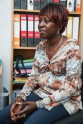 Woman in office.