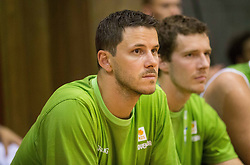 Bostjan Nachbar and Goran Dragic of Slovenia during friendly match between National teams of Slovenia and Republic of Macedonia for Eurobasket 2013 on July 28, 2013 in Litija, Slovenia. (Photo by Vid Ponikvar / Sportida.com)