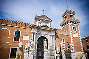 Statues at the entrance to the Arsenal, Venice, Veneto, Italy