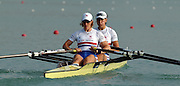 28/08/2003 Thursday.2003 World Rowing Championships, Idroscala. Milan, Italy.Semi finals, women's double sculls, Britain's Debbie Flood and Rebecca Romero [right] at the start of their semi final ... Milan. ITALY 2003 World Rowing Championships. Idro Scala Rowing Course. [Mandatory Credit: Peter Spurrier: Intersport Images.]