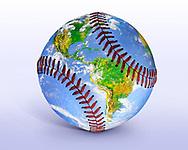 Baseball Globe Illustration, An Image Of The Earth From Space Seemingly Painted Onto A Baseball, Digital Art, Photo Illustration