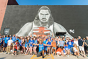 Unveiling of OKC Thunder basketball center Stephen Adams mural on the side of a building in Oklahoma City, painted by artist and fellow New Zealander Mr G Hoete.