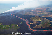 lava erupted from fissure 8 of the Kilauea Volcano east rift zone near Pahoa flows as a glowing river around the Green Mountain cinder cone to enter the ocean just south of Cape Kumukahi, Kapoho, Puna District, Hawaii Island ( the Big Island ), Hawaiian Islands, U.S.A. ( Pacific Ocean )