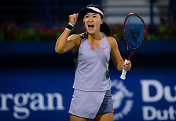 February 18, 2019 - Dubai, United Arab Emirates - LIN ZHU of China reacts at the 2019 Dubai Duty Free Tennis Championships WTA Premier 5 tennis tournament. Zhu beat Mertens 5-7 6-4 7-5. (Credit Image: © AFP7 via ZUMA Wire)