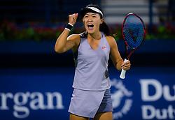 February 18, 2019 - Dubai, United Arab Emirates - LIN ZHU of China reacts at the 2019 Dubai Duty Free Tennis Championships WTA Premier 5 tennis tournament. Zhu beat Mertens 5-7 6-4 7-5. (Credit Image: © AFP7 via ZUMA Wire)