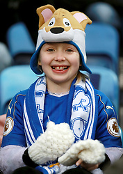 """A Leicester City fan in the stands during the Premier League match at the King Power Stadium, Leicester. PRESS ASSOCIATION Photo Picture date: Saturday December 2, 2017. See PA story SOCCER Leicester. Photo credit should read: Mike Egerton/PA Wire. RESTRICTIONS: EDITORIAL USE ONLY No use with unauthorised audio, video, data, fixture lists, club/league logos or """"live"""" services. Online in-match use limited to 75 images, no video emulation. No use in betting, games or single club/league/player publications."""
