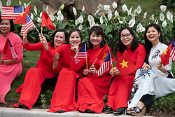 February 27, 2019 - Hanoi, Vietnam - Crowds await the departure of President Donald J. Trump, following his meetings with Nguyen Xuan Phuc, Prime Minister of the Socialist Republic of Vietnam, at the Office of Government Hall Wednesday, Feb. 27, 2019, in Hanoi. (Credit Image: ? White House/ZUMA Wire/ZUMAPRESS.com)