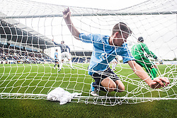 Dundee's Declan Gallagher and Dundee's keeper Kyle Letheren can't stop Falkirk's Jay Fulton scoring their second goal.<br /> Falkirk 3 v 1 Dundee, 21/9/2013.<br /> ©Michael Schofield.