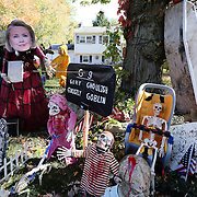 CLINTON, CONNECTICUT- OCTOBER 26:  Hilary Clinton depicted in a Halloween scene combining the season and the upcoming presidential election in the garden of a home in the coastal town of Clinton, Connecticut on October 26, 2016 (Photo by Tim Clayton/Corbis via Getty Images)