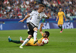 2017?6?19?.   ????????——???????????????.    6?19???????????????????????????????.    ????????????2017????????B??????????3?2????????.    ?????????..(SP)RUSSIA-SOCHI-2017 FIFA CONFEDERATIONS CUP-AUS VS GER.(170619) -- SOCHI, June 19, 2017  Joshua Kimmich (top) of Germany vies with Aziz Behich of Australia during during the group B match between Australia and Germany of the 2017 FIFA Confederations Cup in Sochi, Russia, on June 19, 2017. Germany won 3-2.  7 9854294892 (Credit Image: © Xu Zijian/Xinhua via ZUMA Wire)