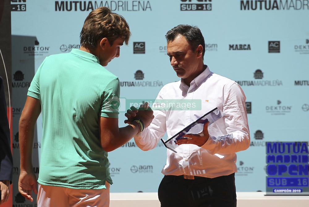 May 12, 2019 - Madrid, MADRID, SPAIN - Daniel Merida (ESP) finalist of the Mutua Madrid Open Sub 16, 2019 and Berasategui, (ATP Masters 1000 and WTA Premier) tenis tournament at Caja Magica in Madrid, Spain, on May 11, 2019. (Credit Image: © AFP7 via ZUMA Wire)