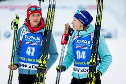 Monika Hojnisz (POL) AND Yuliia Dzhima (UKR) during Women 15km Individual at day 5 of IBU Biathlon World Cup 2018/19 Pokljuka, on December 6, 2018 in Rudno polje, Pokljuka, Pokljuka, Slovenia. Photo by Ziga Zupan / Sportida