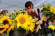 A sunflower vendor at the Farmers Market along Main Street in downtown Greenville, South Carolina.