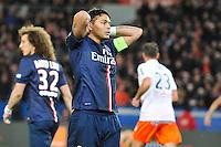 Deception - Thiago SILVA - 20.12.2014 - Paris Saint Germain / Montpellier - 17eme journee de Ligue 1 -<br />Photo : Aurelien Meunier / Icon Sport