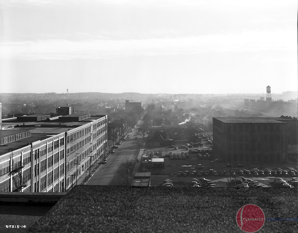 This 1941 image looks south and was taken from the roof of Studebaker building 84.  Lafayette Boulevard is visible, as are Studebaker's buildings 47, 47A, 48, and 48A on the east side of Lafayette.