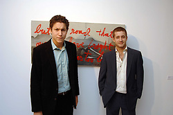 Left to right, VITO SCHNABEL son of Julian Schnabel and TYRONE WOOD at an exhibition of paintings by artist Rene Richard at the Scream Gallery, Bruton Street, London on 3rd April 2008.<br /><br />NON EXCLUSIVE - WORLD RIGHTS