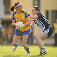 14 August 2010; Eimear Considine, Clare, in action against Louise Kidd, Dublin. TG4 Ladies Football All-Ireland Senior Championship Quarter-Final, Clare v Dublin, St Rynagh's, Banagher, Co. Offaly. Picture credit: Brendan Moran / SPORTSFILE *** NO REPRODUCTION FEE ***