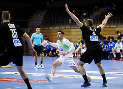 Miha Zarabec of Slovenia during handball match between National Teams of Germany and Slovenia at Day 2 of IHF Men's Tokyo Olympic  Qualification tournament, on March 13, 2021 in Max-Schmeling-Halle, Berlin, Germany. Photo by Vid Ponikvar / Sportida