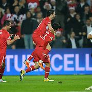 Turkey's Gokhan GONUL (C) celebrate his goal with team mate during their UEFA EURO 2012 Qualifying round Group A soccer match Turkey betwen Austria at Sukru Saracoglu stadium in Istanbul March 29, 2011. Photo by TURKPIX