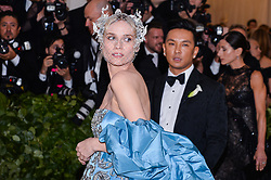 Diane Kruger walking the red carpet at The Metropolitan Museum of Art Costume Institute Benefit celebrating the opening of Heavenly Bodies : Fashion and the Catholic Imagination held at The Metropolitan Museum of Art  in New York, NY, on May 7, 2018. (Photo by Anthony Behar/Sipa USA)