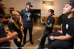Shaun Guardado of Suicide Machine, Courtney Marriott and Preston Burroughs at the pre-party for the Handbuilt Motorcycle Show at Revival Cycles. Austin, TX. April 9, 2015.  Photography ©2015 Michael Lichter.