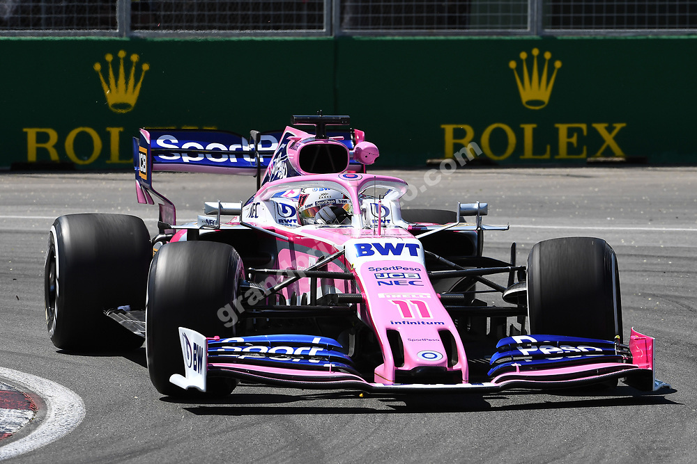 Sergio Perez (Racong Point-Mercedes) during practice for the 2019 Canadian Grand Prix in Montreal. Photo: Grand Prix Photo