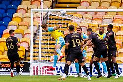 Shaun Raggett of Rotherham United heads at goal - Mandatory by-line: Ryan Crockett/JMP - 28/07/2018 - FOOTBALL - One Call Stadium - Mansfield, England - Mansfield Town v Rotherham United - Pre-season friendly