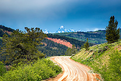 Gros Ventre Road to the Grand Tetons.  Thunderstorm, Jackson Hole.