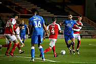 Peterborough United defender Ryan Tafazolli (5) gets tripped on there edge of the box during the EFL Sky Bet League 1 match between Peterborough United and Accrington Stanley at London Road, Peterborough, England on 20 October 2018.