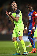 Jordan Henderson, the Liverpool captain motivates his teammates. Premier League match, Crystal Palace v Liverpool at Selhurst Park in London on Saturday 29th October 2016.<br /> pic by John Patrick Fletcher, Andrew Orchard sports photography.