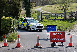 © Licensed to London News Pictures. 10/04/2020. Dorking, UK. Police close access to Surrey beauty spot Box Hill near Dorking. Police have closed Box Hill over the Easter Weekend to stop the spread of the coronavirus . The government has warned that people must continue to follow the public health guidance over the Easter weekend. Photo credit: Peter Macdiarmid/LNP