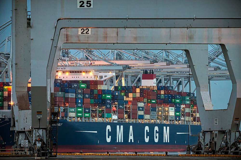 Containers and ship to shore cranes working vessels at the Georgia Ports Authority Garden City Terminal, Wednesday, Feb., 14, 2018, in Savannah, Ga.  (GPA Photo/Stephen B. Morton)