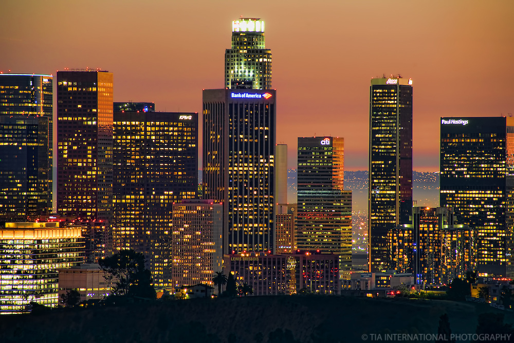 Close-up of LA Skyline @ Sunset