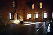 A man prays alone at the Imam Khomayni mosque in Tyre, Lebanon