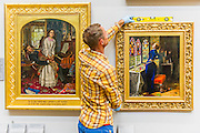 The return and re-hanging of the nation's Pre-Raphaelite works, including Millais' Ophelia, to Tate Britain. They are going back on display from Thursday 7 August 2014 after being seen by over 1.1 million people worldwide. They include: John Everett Millais' , Ophelia; Beata Beatrix by Dante Gabriel Rossetti; The Lady of Shalott by John William Waterhouse (pictured left); The Beloved by Rossetti; and Mariana (pictured right)  by John Everett Millais. These works are being displayed in the 'grand' surroundings of the 1840 galleries as part of the BP Walk through British Art. <br /> Millbank,  London, UK