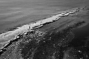 Rock formation revealed in Kimmeridge Bay at low tide. Dorset, UK.
