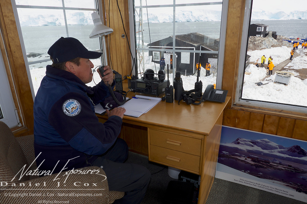 An Argentine military officer in the watch tower at Gonzalez Videal Station, Antarctica.