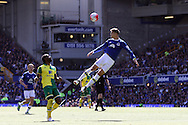 John Stones of Everton © heads the ball clear . Barclays Premier League match, Everton v Norwich City at Goodison Park in Liverpool on Sunday 15th May 2016.<br /> pic by Chris Stading, Andrew Orchard sports photography.