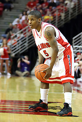 """12 January 2008: Keith """"Boo"""" Richardson during a game in which  the Purple Aces of the University of Evansville lost to  the Redbirds of Illinois State on Doug Collins Court at Redbird Arena in Normal Illinois by a score of 74-66."""
