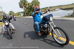 Rene Chavez (L) and Roy Kawahara riding through Tomoka State Park during Daytona Bike Week 75th Anniversary event. FL, USA. Thursday March 3, 2016.  Photography ©2016 Michael Lichter.