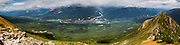 High-angle, panoramic view of Golden, British Columbia taken from near the Kicking Horse Resort.
