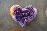 Crystal Heart Amethyst. This healer stone is violet quartz that contains iron and trace minerals. The angel frequency sacred geometry aligns the Third Eye, Crown and Etheric Chakras.<br /> <br /> Amethyst is a meditative and calming stone which works in the emotional, spiritual, and physical planes to promote calm, balance, and peace.