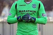 The Hibernian goalkeepers shirt and gloves showing sponsorship during the Ladbrokes Scottish Premiership match between St Mirren and Hibernian at the Paisley 2021 Stadium, St Mirren, Scotland on 27 January 2019.