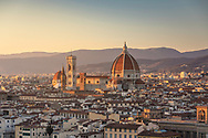 Panoramic view of Florence, Tuscany, Italy including the Duomo seen from Piazzale Michelangelo.<br /> Picture date: Saturday February 23, 2019.<br /> Photograph by Christopher Ison ©<br /> 07544044177<br /> chris@christopherison.com<br /> www.christopherison.com
