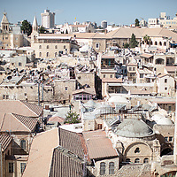Roofs of the Old City of Jerusalem taken from the spire at the Church of The Redeemer.