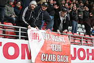 Leyton Orient fans protesting against the ownership of the club.EFL Skybet Football League two match, Leyton Orient v Doncaster Rovers at the Matchroom Stadium, Brisbane Road in Leyton, London on Saturday 18th March 2017.<br /> pic by Steffan Bowen, Andrew Orchard sports photography.