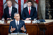 U.S. President Barack Obama delivers the State of the Union address to a joint session of Congress at the Capitol in Washington, D.C., U.S., on Tuesday, Jan. 12, 2016. Obama said he regrets that political divisiveness in the U.S. grew during his seven years in the White House and he plans to use his final State of the Union address Tuesday night to call for the nation to unite. Photographer: Pete Marovich/Bloomberg *** Local Caption *** Barack Obama