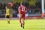 Accrington Stanley midfielder Sean McConville (11) has a wardrobe malfunction during the EFL Sky Bet League 1 match between Burton Albion and Accrington Stanley at the Pirelli Stadium, Burton upon Trent, England on 23 March 2019.